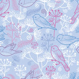 Pastel birds and flowers seamless pattern vector illustration