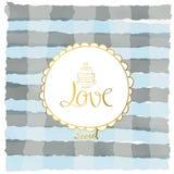 Pastel blanco azul claro de la raya con el círculo del amor en día de San Valentín Foto de archivo