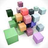 Pastel blocks. 3D rendering of a cubic background in different pastel colors Royalty Free Stock Photo