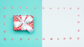 Pastel Blue Candy Colour flat lay web banner with beautifully wrapped present. Valentine`s Day or Birthday Background. Happy Mother`s Day, Women`s Day Stock Photos
