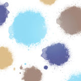 Pastel blue ink blots. Ink blots colors abstract background - pastel blue stock illustration