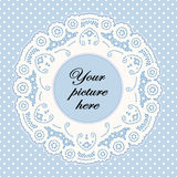 Pastel Blue Lace Doily Frame, Polka Dot Background Royalty Free Stock Photos