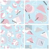 Set of 4 seamless repeat patterns in Memphis style. royalty free illustration