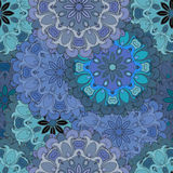 Pastel blue vintage seamless pattern in oriental style. Indian, arabic, ottoman, turkish, japanese, chinese floral Stock Photography
