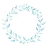 Pastel blue watercolor leaves wreath. Subtle hand Royalty Free Stock Image