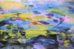 Pastel blue watercolor and wax, abstract background Stock Photo
