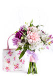 Pastel bouquet from pink and purple gillyflowers on white with g Royalty Free Stock Photo