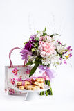 Pastel bouquet from pink and purple gillyflowers on white with g Royalty Free Stock Photography