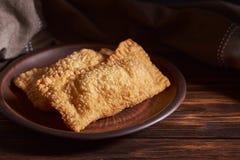 Pastel brésilien de nourriture homemade Darkphoto images stock