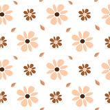 Pastel brown and pink flowers seamless pattern background illustration Stock Images