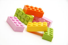 Pastel building blocks. Several colorful pastel building blocks royalty free stock photo