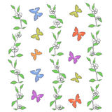 Pastel butterflies illustration Stock Photo