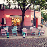 Pastel Cafe. Pastel colored outdoors urban cafe stock photography