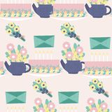 Pastel cake and flowers in a seamless pattern design