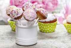 Pastel cake pops and cupcakes Royalty Free Stock Images