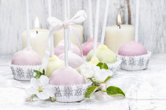 Pastel cake pops in romantic spring set Stock Photo