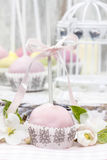 Pastel cake pops in romantic spring set Stock Photography