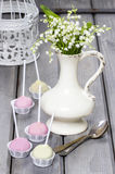 Pastel cake pops on rustic grey wooden table Stock Images