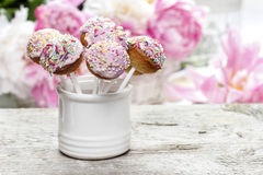 Pastel cake pops on rustic wooden table Royalty Free Stock Photos