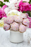 Pastel cake pops on rustic wooden table Royalty Free Stock Photography