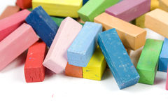 Pastel chalk. Variety of pastel chalk. Isolated on a white background stock photo