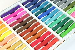 Pastel Chalk Crayons. Box of coloured pastel chalk crayons Royalty Free Stock Images