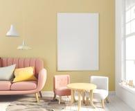 Pastel child`s room. playroom. modern style. 3d illustration. Po