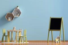 Pastel child`s room. playroom. modern style. 3d illustration. Wa. Ll mock up Royalty Free Stock Image
