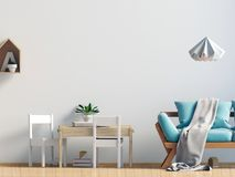 Pastel child`s room. playroom. modern style. 3d illustration. Wa. Ll mock up Stock Photography