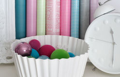 Pastel Christmas Balls and Wrapping Paper Stock Photography
