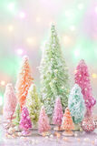Pastel christmas. Pastel colored christmas trees and decoration stock photos