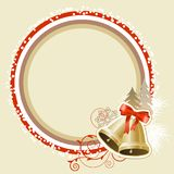 Pastel Christmas frame with gold bells Stock Image