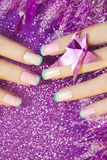 Pastel Christmas French manicure. stock photo