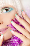 Pastel Christmas French manicure and makeup . royalty free stock image