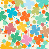 Pastel clover. Lucky four leaves St.Patrick seamless pattern in colors Royalty Free Stock Photos