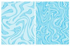 Set of 2 Blue Geometric Vector Backgrounds. Abstract Marble. royalty free illustration