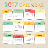 Pastel color Calendar for 2017 template design. Week Starts Mond Stock Photography