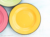 Pastel Color ceramic food plates top view background Royalty Free Stock Photo