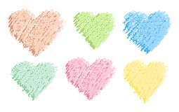 Pastel color crayon heart shape hand drawing with art strokes set. Royalty Free Stock Photo