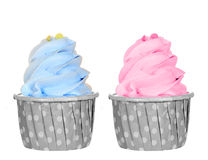 Pastel color cupcake isolated Stock Photography
