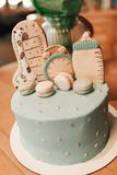 Pastel color decoration of a first year birthday cake on wooden table stock images