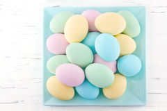 Pastel color easter eggs on a plate royalty free stock image