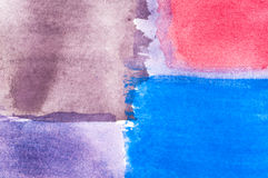 Pastel color-field painting. Abstract pastel color-field painting, watercolors red blue violet Stock Photo