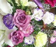 Pastel color flower basket. Soft color flower brighten the gift basket and good day stock images