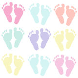 Pastel color foot prints Royalty Free Stock Image