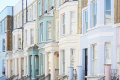 Pastel color houses facades in London Royalty Free Stock Photo