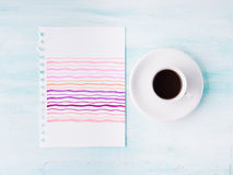 Pastel color palette card and cup of coffee background. Pastel colorful pink color palette card and cup of espresso coffee flat lay background. Insert your text royalty free stock image