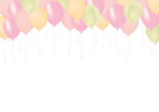 Pastel color pink, green, and orange celebrate air pastic balloo Stock Images