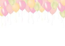 Pastel color pink, green, and orange celebrate air pastic balloo. Isolated pastel color pink, green, and orange celebrate air pastic balloons Stock Images