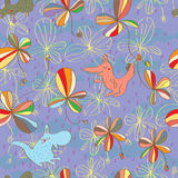 Pastel color plant animal seamless pattern Royalty Free Stock Images